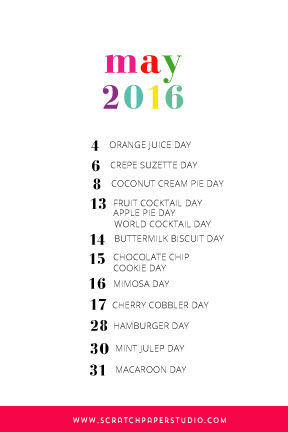 Fun May 2016 National Holidays from Scratch Paper Studio